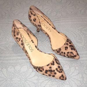 Sole Society Leopard Print Heels; 8M